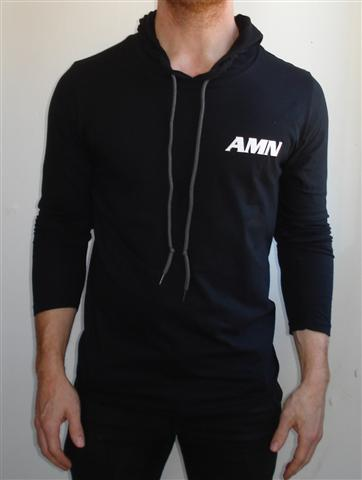 Black Long-sleeved Hoodie -AMN LOGO - T-shirt